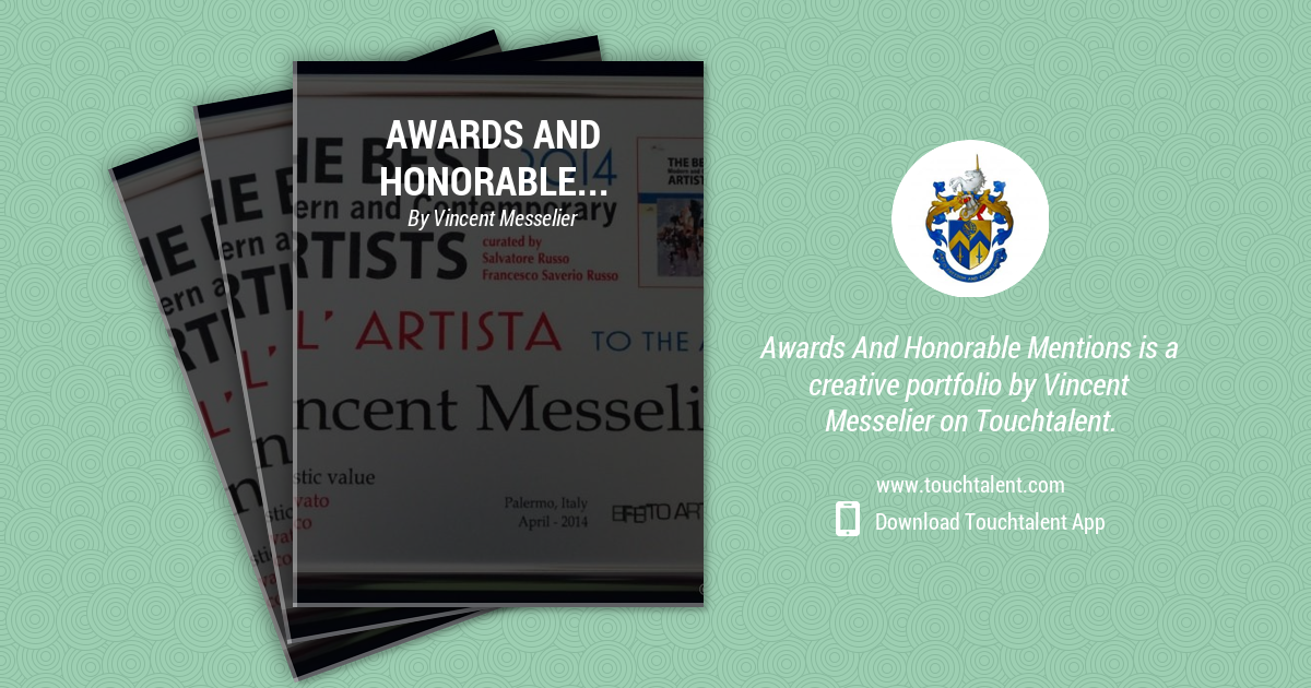 Award For 'tribute To Sicily' Trinacria, Trofeo Il Tempio Monreale 2014, March Museo Civico by Vincent Messelier