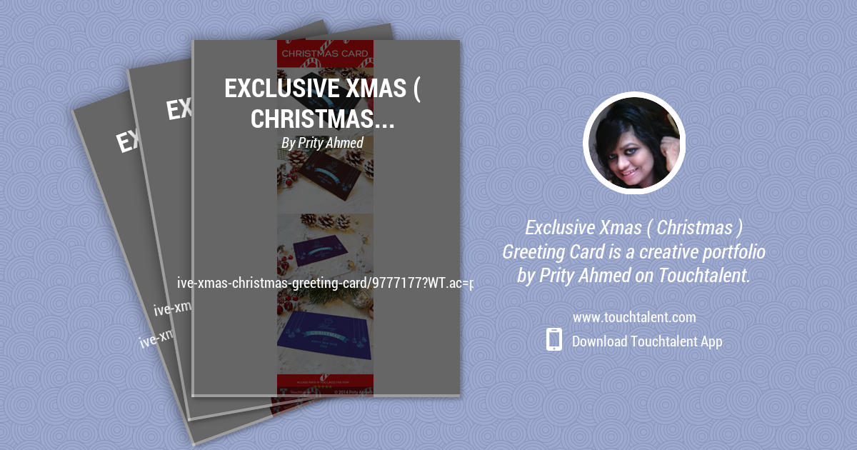Exclusive Xmas ( Christmas ) Greeting Card by Prity Ahmed